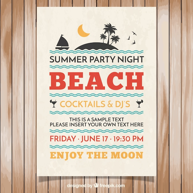 Poster of summer party Free Vector