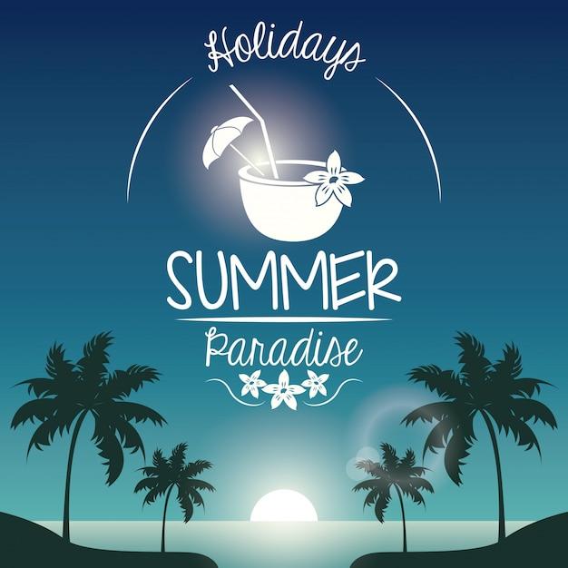 Плакат закат пейзаж пальм на пляже Premium векторы