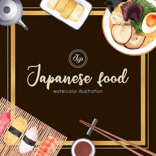 Poster of sushi restaurant illustration. japanese-inspired in modern style Free Vector