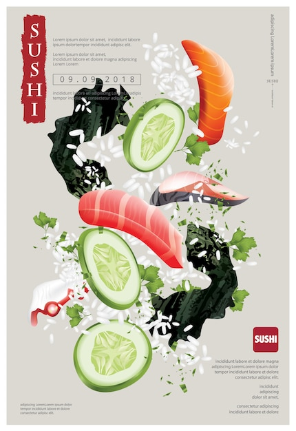 Poster of sushi restaurant vector illustration Premium Vector