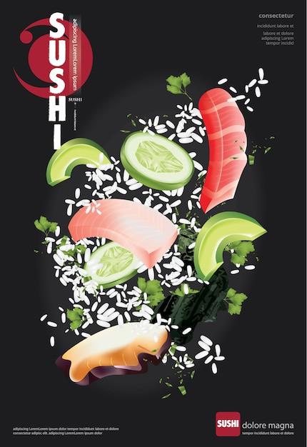 Poster of sushi restaurant vector illustration Premium Vector