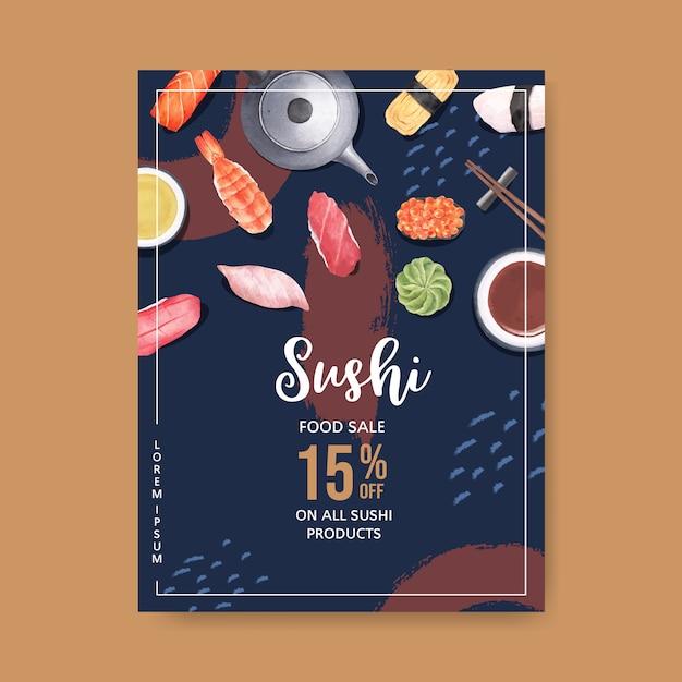 Poster for sushi restaurant Free Vector