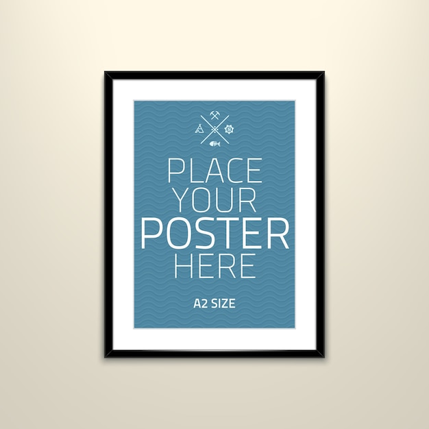 Poster template of a blank paper sheet in frame Free Vector
