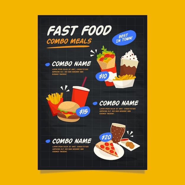 Плакат шаблон комбинированных блюд Бесплатные векторы