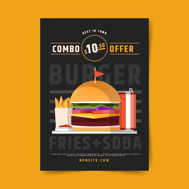 Poster template for combo meals Free Vector