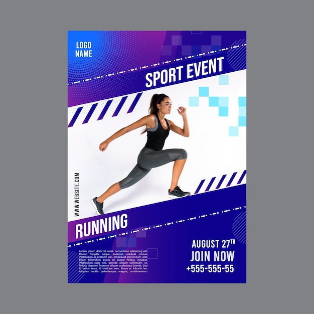 Poster template for fitness activity Premium Vector