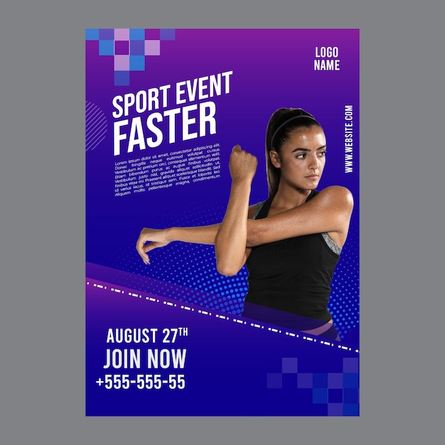 Poster template for fitness and sports Free Vector