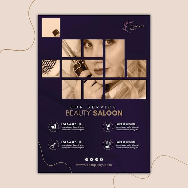 Шаблон плаката для салона красоты Premium векторы