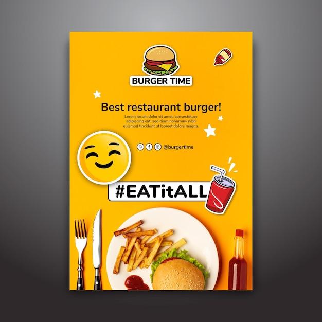 Шаблон постера для бургер-ресторана Бесплатные векторы