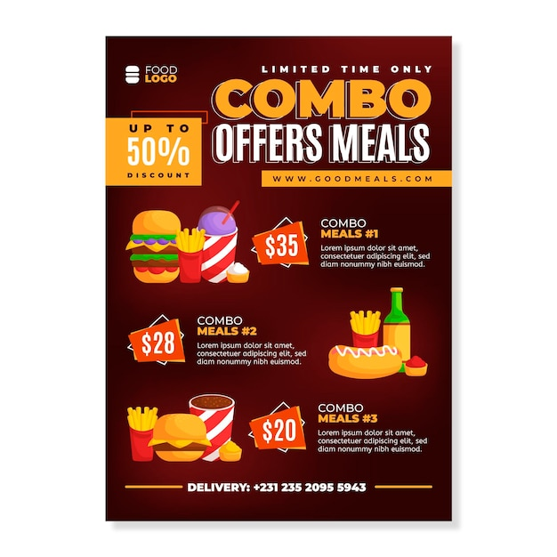 Шаблон плаката для комбинированных блюд Premium векторы