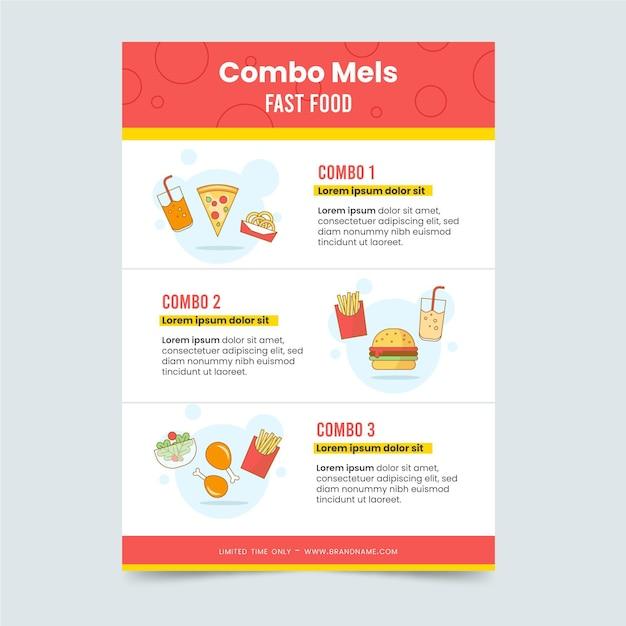 콤보 식사를위한 포스터 템플릿 무료 벡터