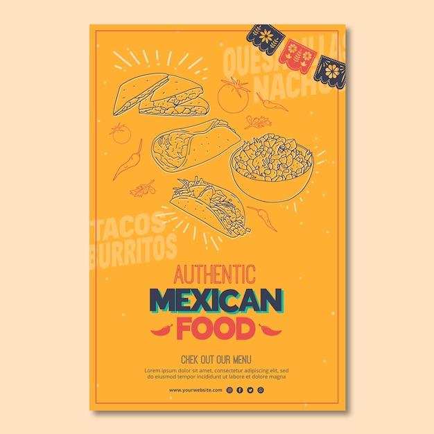 Шаблон постера для ресторана мексиканской кухни Бесплатные векторы