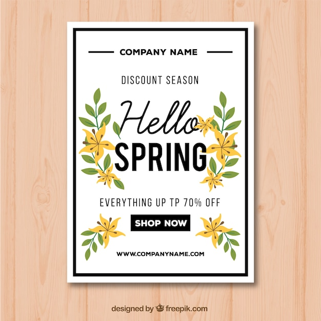 Poster template for spring sales with flowers\ and yellow leaves
