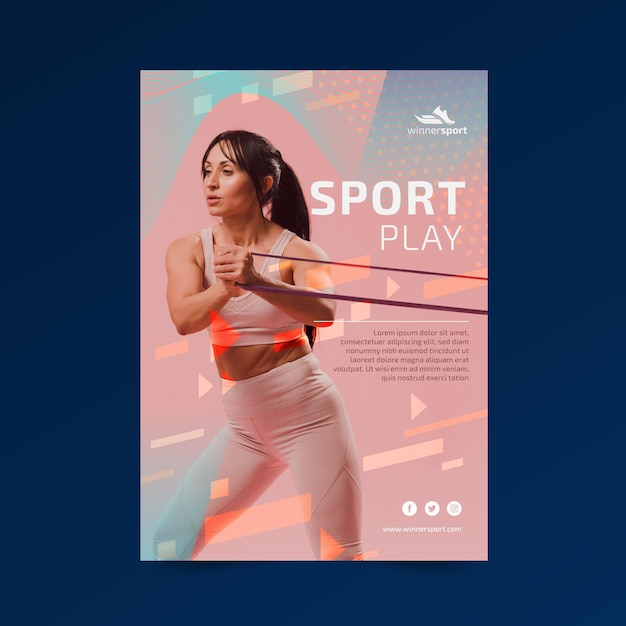 Poster templatefor gym fitness Free Vector