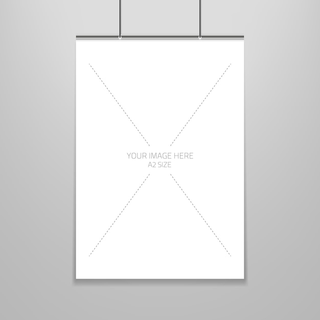 poster template of a blank paper sheet in frame vector free download
