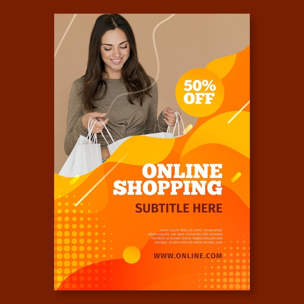 Poster template for online shopping Free Vector