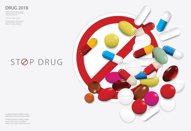 Poster template stop drug vector illustration Premium Vector