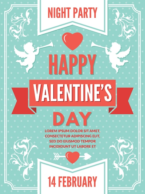 Poster template for valentines day. background illustrations of love symbols.  valentine day romantic card decoration Premium Vector