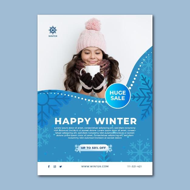 Modello di poster per la vendita invernale Vettore gratuito