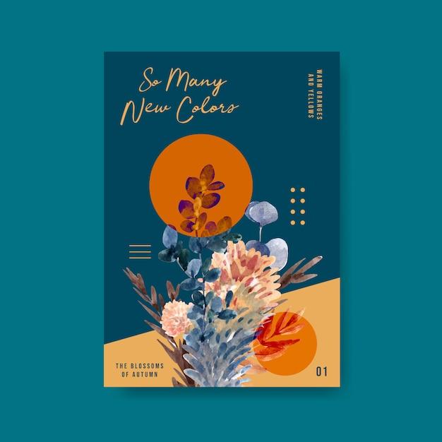 Шаблон плаката с осенним цветочным концептуальным дизайном для брошюры и маркетинговой акварельной иллюстрации. Бесплатные векторы