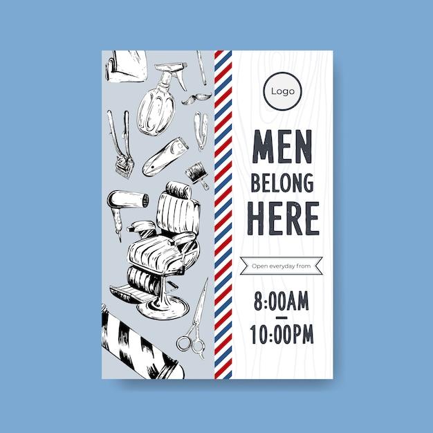 Шаблон плаката с концептуальным дизайном парикмахера. Бесплатные векторы
