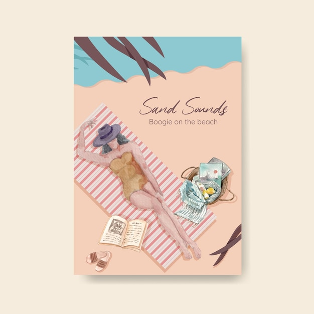 브로셔 수채화 일러스트 해변 휴가 컨셉 디자인 포스터 템플릿 무료 벡터