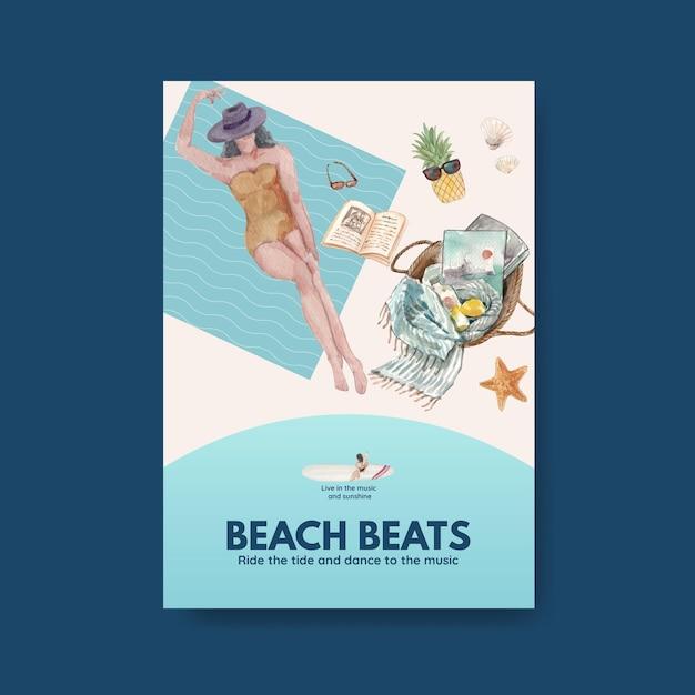 パンフレット水彩イラストのビーチ休暇のコンセプトデザインのポスターテンプレート 無料ベクター
