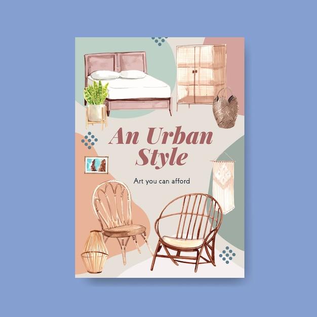 Modello di poster con concept design di mobili boho per brochure e illustrazione dell'acquerello di marketing Vettore gratuito