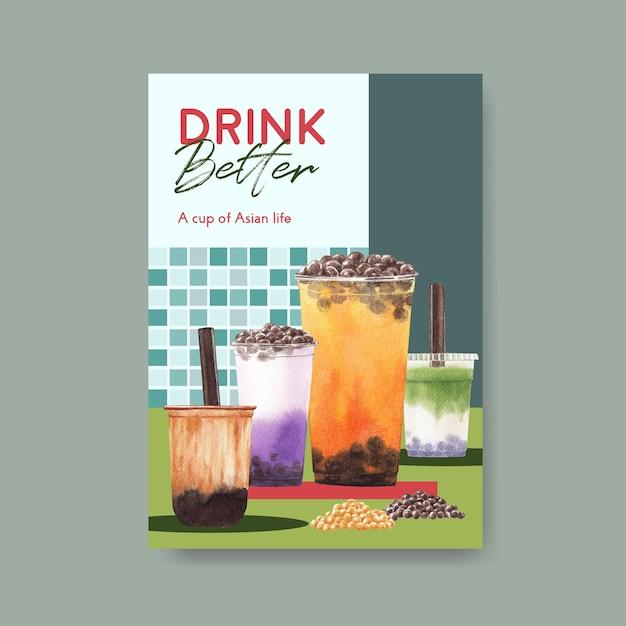 Шаблон плаката с концепцией пузырькового чая с молоком Бесплатные векторы