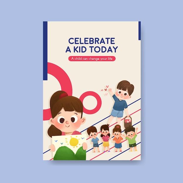 Шаблон плаката с концепцией детского дня Бесплатные векторы