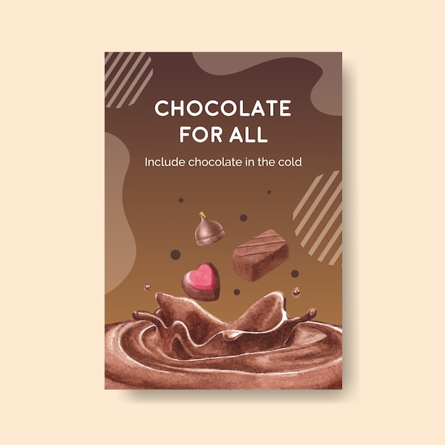 Poster template with chocolate winter concept design for brochure  and advertise watercolor vector illustration Free Vector