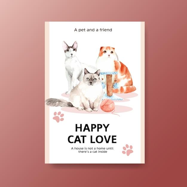 Шаблон постера с милой кошкой Бесплатные векторы