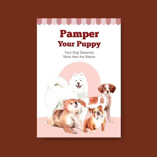 Шаблон постера с собаками Бесплатные векторы