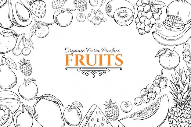 Шаблон плаката с рисованной фруктов для Premium векторы