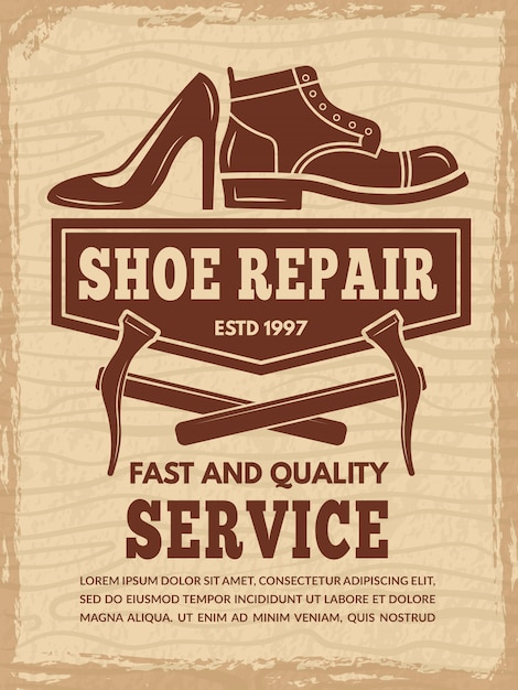Poster template with illustrations of shoe repair workshop Premium Vector
