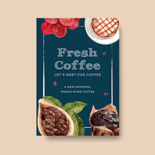 Шаблон плаката с концептуальным дизайном международного дня кофе для буклета и маркетинговой акварели Бесплатные векторы