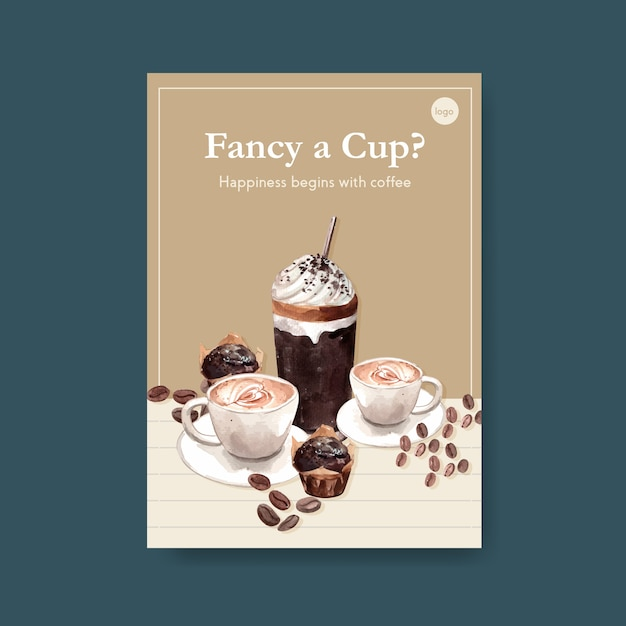 Poster template with international coffee day concept design for leaflet and marketing watercolor Free Vector