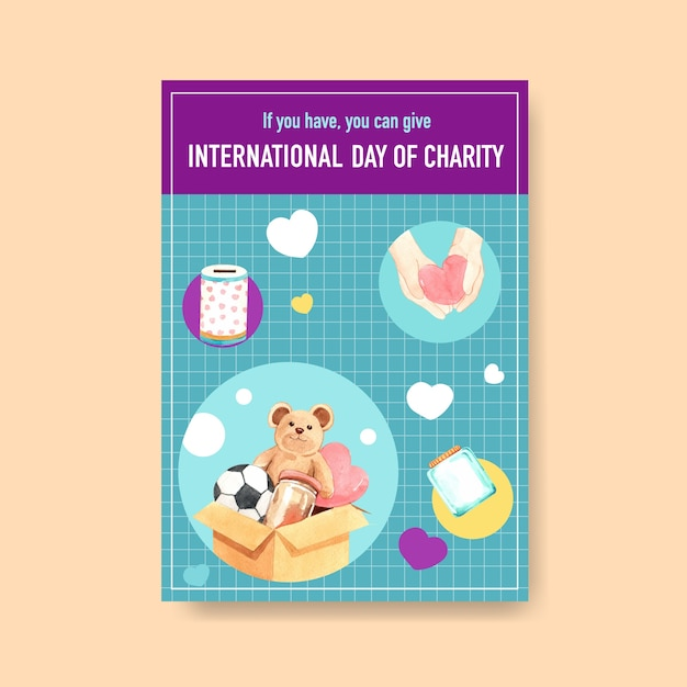 Poster template with international day of charity concept design Free Vector