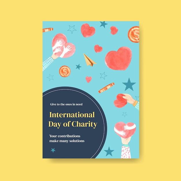 Шаблон плаката с концептуальным дизайном международного дня благотворительности Бесплатные векторы