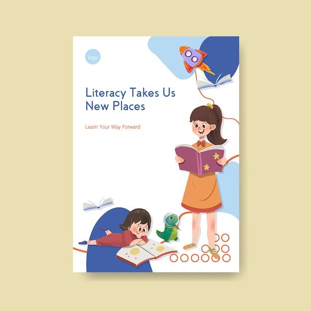 パンフレットやチラシの水彩画の国際識字デーのコンセプトデザインのポスターテンプレート。 無料ベクター