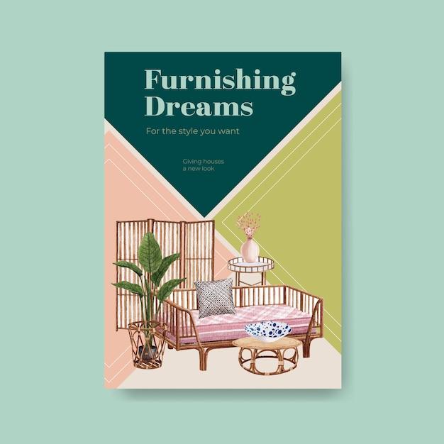 Modello di poster con concept design di mobili jassa per brochure e annunci illustrazione vettoriale acquerello Vettore gratuito