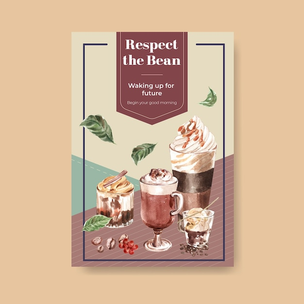 수채화 광고 및 마케팅을위한 한국 커피 스타일 컨셉 포스터 템플릿 무료 벡터