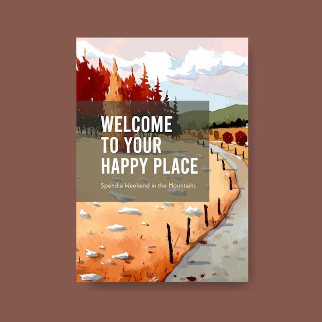 Modello del manifesto con paesaggio nel disegno di autunno. stagione autunnale Vettore gratuito
