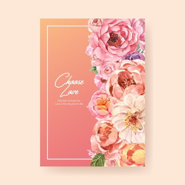 광고 및 마케팅 수채화 그림에 대한 사랑 개화 컨셉 디자인 포스터 템플릿 무료 벡터