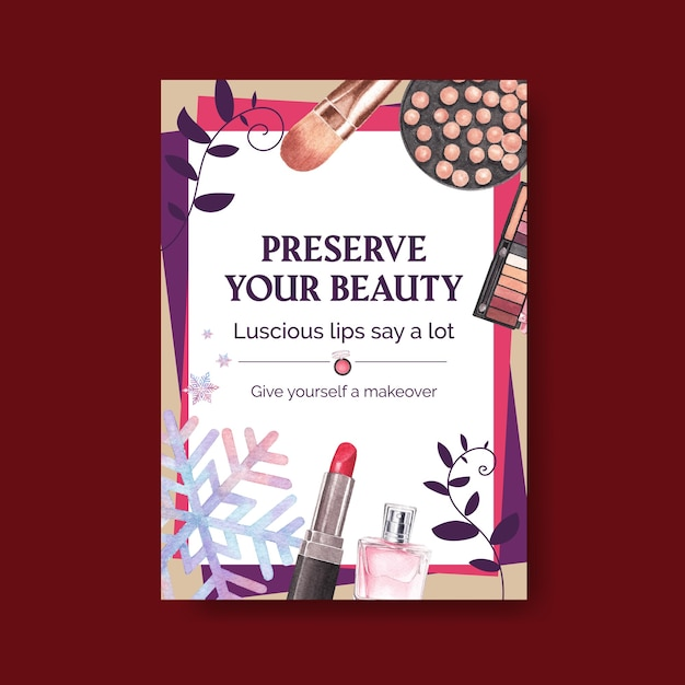 Modello di poster con concept design di trucco per brochure e volantini acquerello. Vettore gratuito