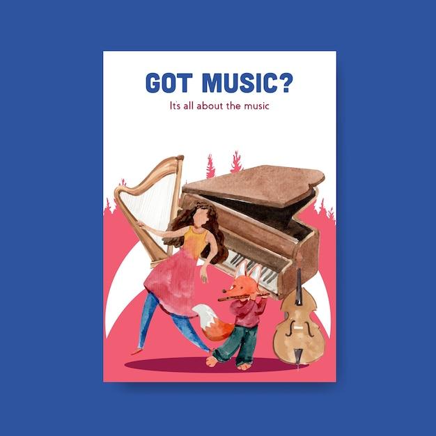 브로셔 및 마케팅 수채화 벡터 일러스트 레이 션을위한 음악 축제 컨셉 디자인 포스터 템플릿 무료 벡터