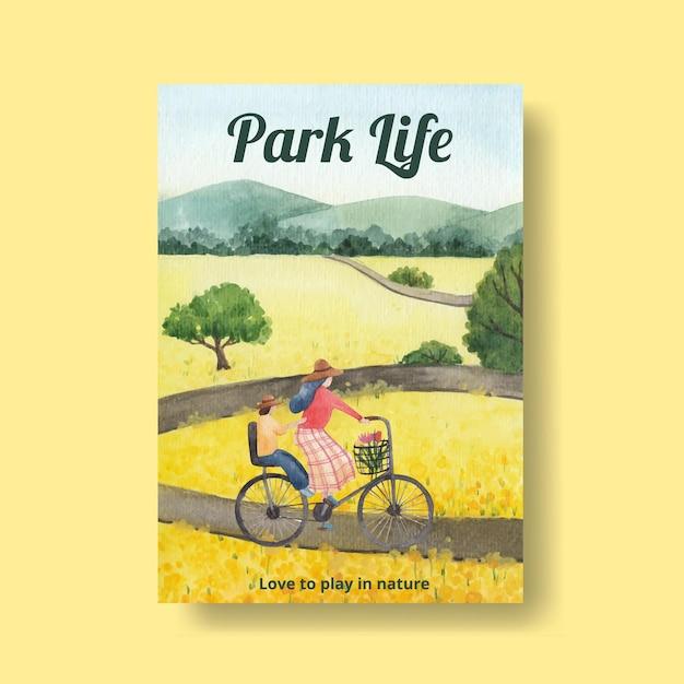 Шаблон плаката с концепцией парка и семьи для акварельной иллюстрации буклета и брошюры Бесплатные векторы