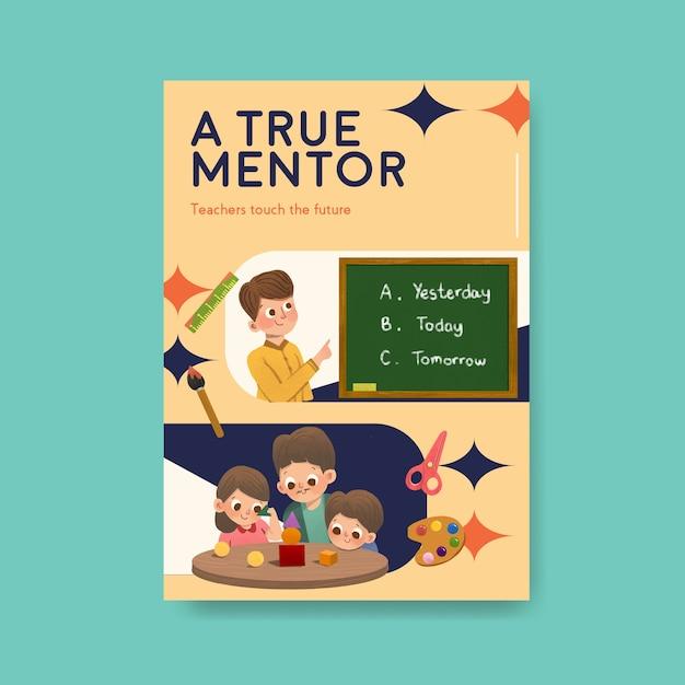 Modello di poster con concept design del giorno dell'insegnante per brochure e depliant Vettore gratuito