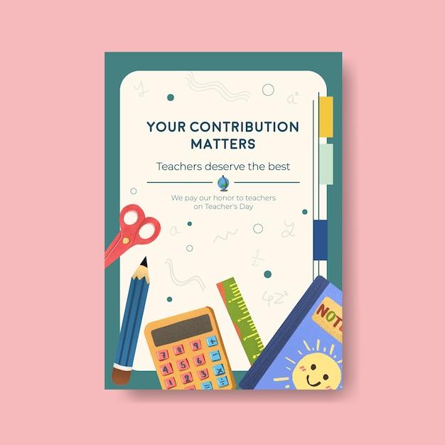 パンフレットやチラシの教師の日のコンセプトデザインのポスターテンプレート 無料ベクター