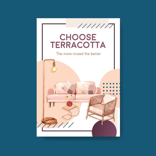 Modello di poster con decorazioni in terracotta Vettore gratuito